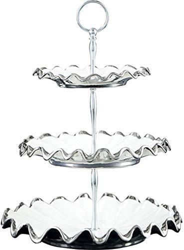 Good dress Household Storage Bowls 3-Layer White Ceramic Fruit Bowl, European-Style Dining Room Decoration, Dried Fruit Snack Cake Fruit Bowl, 27 * 27 * 35Cm