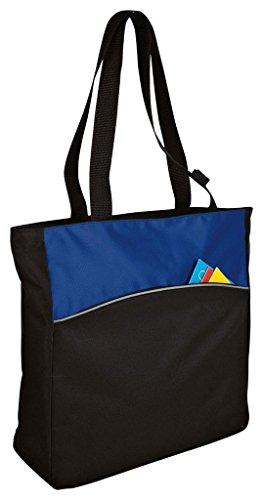 (One Size, Royal/Black) - Port & Company Improved Two-Tone Colorblock Tote