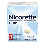 Nicorette 4 mg Nicotine Gum to Quit Smoking - Original Unflavored Stop Smoking Aid, 170 Count