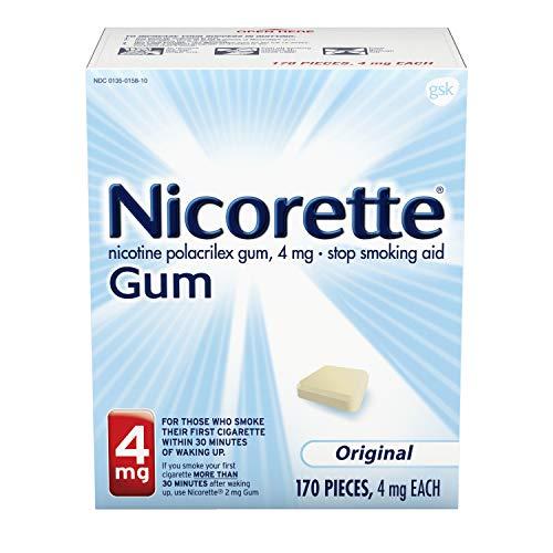 Nicorette 4 mg Nicotine Gum to Quit Smoking - Unflavored Stop Smoking Aid, Original, 170 Count