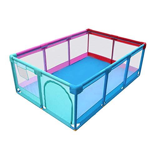 LY88 Baby-loopstal met deur, extra lange anti-rolgordijn-kleinkind, speelhek voor jongens en meisjes, binnen en buiten