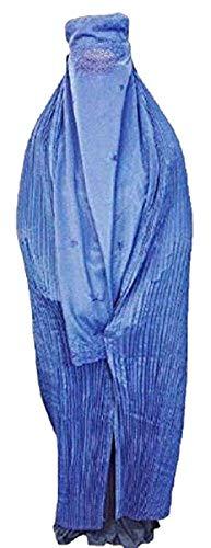 Authentic Damen afghanischen Burka Burka Schwarz, Blau, Rot, Braun, Weiß Jilbab Abaya Afghanistan Taliban Schleier Niqab - Free Size Coole Kaftane (Blue blau)