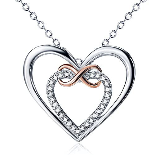 925 Sterling Silver Double Love Heart-Shaped Infinite Hängsmycke Halsband Smycken Diamond-Set Jag älskar dig Mamma Flickvän Kvinna Dotter Mors dagars årsdag Födelsedagspresent
