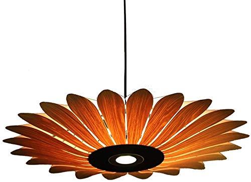 Wlnnes Sud-Est asiatico rotonda ombrello luce del pendente Creative Wood Lampadario Girasole Modellazione E27 fai da te ciondolo luce regolabile in altezza tessuti a mano di bambù naturale lampada a s