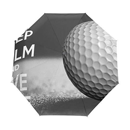 Ombrello da viaggio piccolo Antivento da esterno per pioggia Sun UV Auto compatto Ombrello da 3 pieghe Cover - Mantieni la calma con la pallina da golf