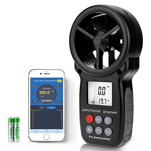Medidor de Velocidad del Viento con Anemómetro Digital de Mano,Anemómetro Inalámbrico de Paleta Bluetooth Adecuado para Fondo para Vela, Cometa, Surf, Marina, Pescar