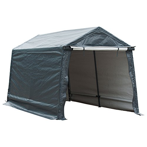 Abba Patio Outdoor Storage Shelter with Rollup Door Storage Shed Portable Garage Kit Tent for Motocycle Garden Storage Grey,7 x 12 ft