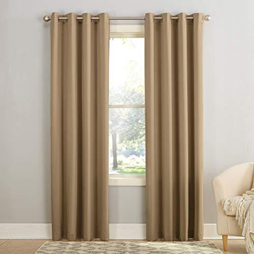 "Sun Zero Barrow Energy Efficient Grommet Curtain Panel, 54"" x 84"", Taupe"