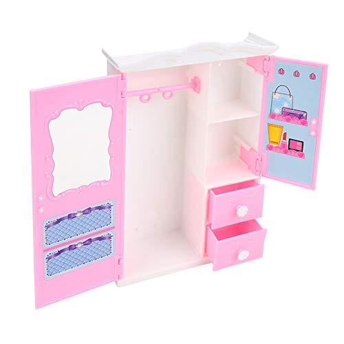 Hztyyier Ropa de muñecas Armario de ensueño Armario de Juguete Rosa Gabinete de Almacenamiento Muebles Juego de rol Juguetes de casa de muñecas Accesorios
