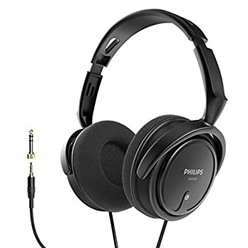 PHILIPS Over Ear Wired Stereo Headphones for Podcasts Studio Monitoring and Recording Headset for Computer Keyboard and Guitar with 6.3 mm  1/4   Add On Adapter