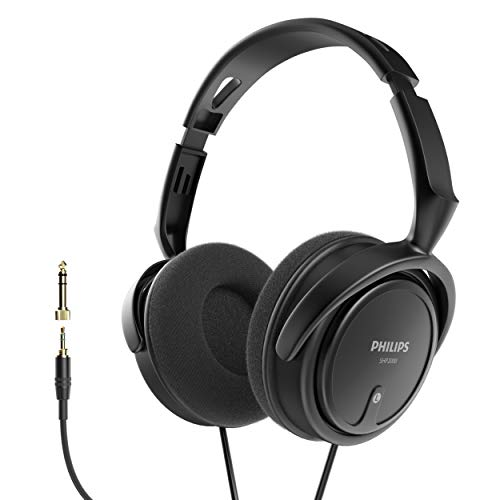 "Philips Over Ear Wired Stereo Headphones for Podcasts, Studio Monitoring and Recording Headset for Computer, Keyboard and Guitar with 6.3 mm (1/4"") Add On Adapter"