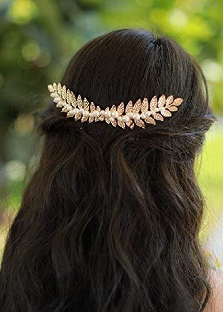 意見エーカーアーネストシャクルトンMissgrace Gold Leaf Hair Comb Wedding Hair Accessories Bride Floral Hair Comb Head Pieces Hair Clips Pins Jewelry [並行輸入品]