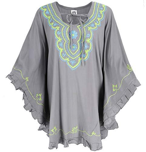 GURU SHOP Poncho hippie bordado, túnica, caftán, vestido de playa, talla grande, para mujer, gris,...