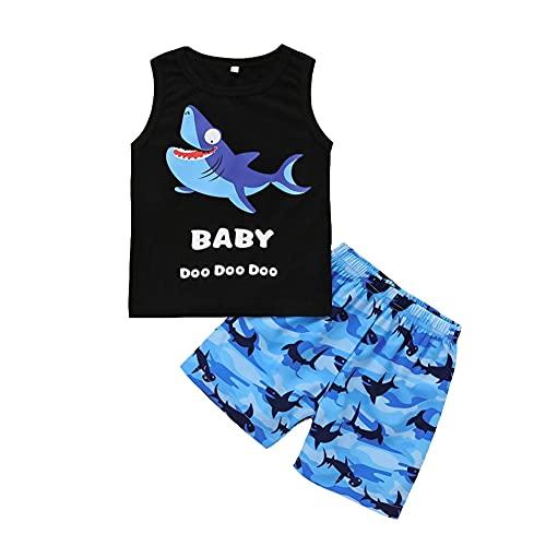 Conjunto de ropa de verano para bebé y niño recién nacido, dibujos animados, animales, camiseta de manga corta, pantalones cortos, ropa Tiburón 0-6 Meses
