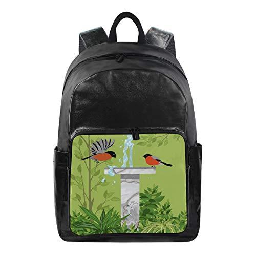QMIN Rucksack Brunnen Vogel Blätter Muster Mode Bookbag Wasserdicht Reise College Canvas Daypack Schultertasche Organizer für Jungen Mädchen Damen Herren