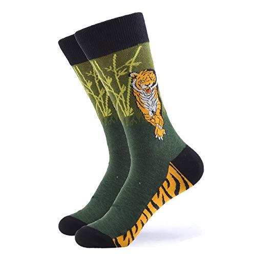 WeciBor Bunt Beiläufig Gemusterte Herren Socken Gekämmte Baumwolle Mehrfarbig Neuheit Crew Socken (1Paar Tiger)
