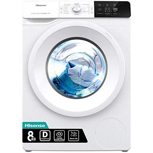 Hisense WFGE80141VM Waschmaschine mit Dampf/ Inverter Motor/ Aqua Stop/ 8kg/ Automatikprogramm/ Wave Plus Edelstahltrommel