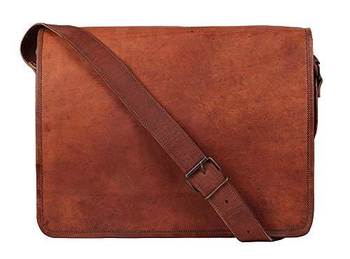 ALASKA EXPORTS 16 & 18 pulgadas Vintage Crossbody Cuero auténtico bolso de mensajero para portátil