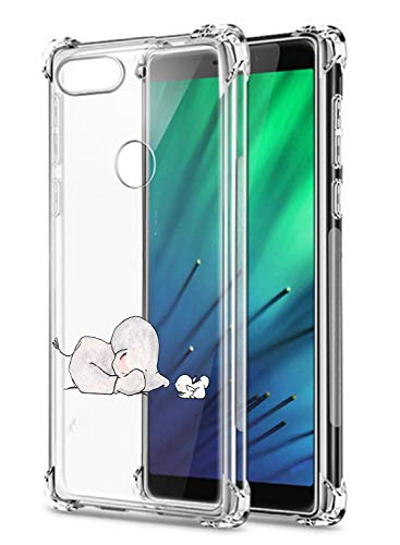Oihxse Crystal Coque pour Xiaomi Redmi Note 6/Note 6 Pro Transparent Silicone TPU Etui Air Cushion Coin avec Motif [Elephant Lapin] Housse Antichoc Protection Bumper Cover (A2)