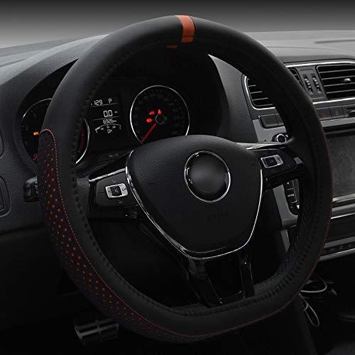 UZZHANG D-Art-Kunstleder-Lenkrad-Abdeckung für Volkswagen Golf Sagitar 38CM (Farbe : Orange)
