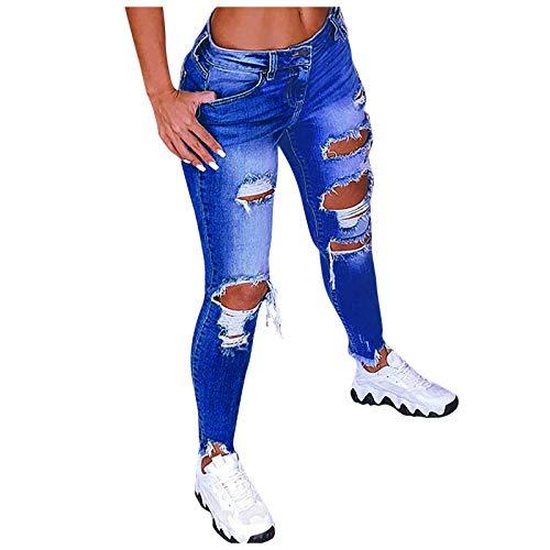 YANFANG Pantalones Vaqueros de Cintura Baja con Agujeros de Color sólido para Mujer, Pantalones Acampanados en el Tobillo, Pantalones de Moda,Dark Blue,3XL