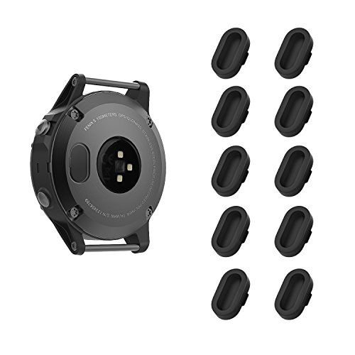 MoKo Dust Plug Compatible with Garmin Fenix 5/5S/5X/6/6S/6X/6 Pro/6S Pro/6X Pro/Forerunner 245/935/945/Vivoactive 4/4S/Venu, [10 Pack] Silicone Charger Port Protector Anti Dust Plugs Caps, Black