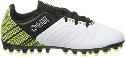 PUMA One 5.4 MG Jr Botas de fútbol Unisex Niños,Blanco ( Puma White-Puma Black-Yellow Alert ) , 37 EU