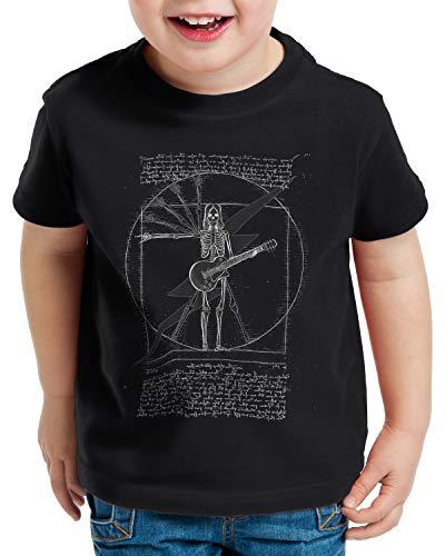 style3 Vitruvianischer Rockstar T-Shirt für Kinder e-Gitarre Rock Punk Metal Festival Konzert Elektro, Farbe:Schwarz, Größe:152