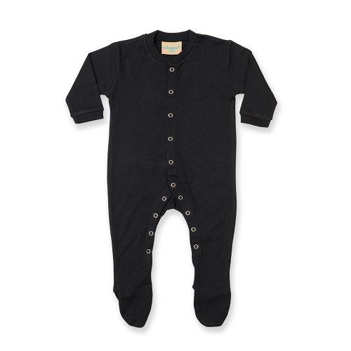 Larkwood - Pijama de manga larga liso unisex para bebé (12-18 meses/Negro)
