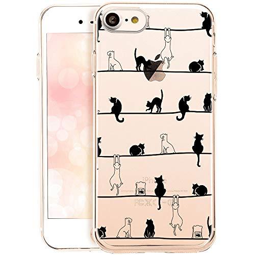 QULT Schutzhülle kompatibel mit iPhone 7 / iPhone 8 / SE 2020 Hülle mit Motiv dünn Handyhülle Silikon Transparent Slim Bumper mit Muster Katzen Frühling