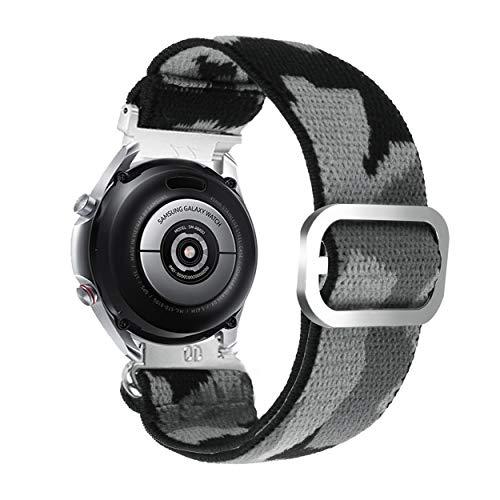 YOOSIDE Elastisch Armband für Samsung Galaxy Watch3 45mm, 22mm Tarnung Stretchy Loop Elastic Einstellbares Schnellverschluss Uhrenarmband für Galaxy Watch 46mm/Gear S3 (Camo-grau)