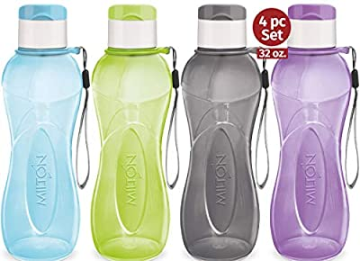 MILTON 32 oz. Large Water Bottle 4 Set Sports Water Bottles for Kids Adults Reusable Water Bottle Plastic Wide-Mouth BPA Free Leak-Free Lightweight Drink Bottle with Carry Strap Hiking Gym Bike Travel