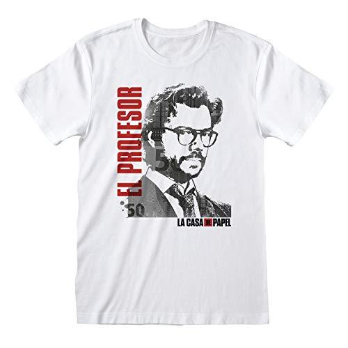 Preisvergleich Produktbild La Casa De Papel Money Heist EL Professor Damen Freund Fit T-Shirt Weiß L