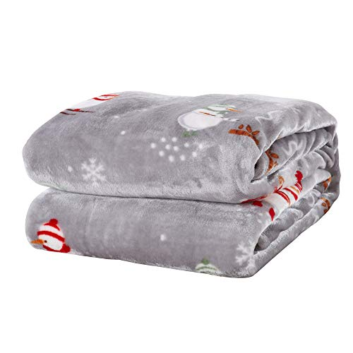 Decorative Holiday Twin Blanket. Super Soft Velvet Plush Christmas Design. (Snowman)
