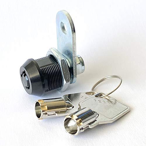 Black Finish Tubular Cam Lock with 5/8' Cylinder, Keyed Alike Security, 2 Keys