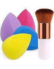 BEAKEY 4 + 1 Stuks Make-up Sponzen Blender Schoonheid Met Blush Brush, Foundation Blending Spons, Onberispelijk Voor Vloeistof, Crèmes En poeders, Poederd