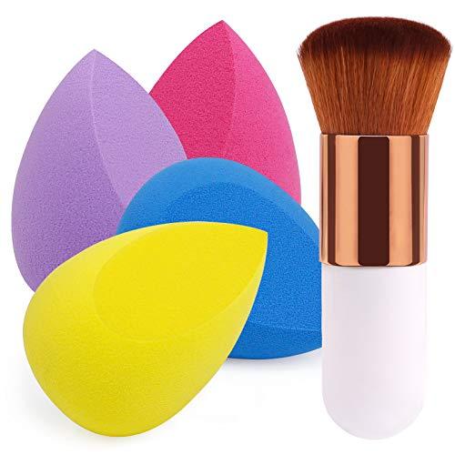 BEAKEY 4+1 Set de Esponja de Maquillaje con Brochas, Perfecto para Base Líquida, Crema y Polvo, Puffs en polvo y Brochas de Kabuki