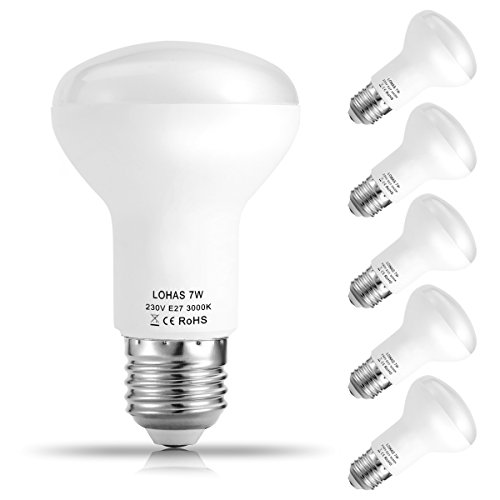 5er Pack LOHAS 7W E27 LED Lampen, Reflektor Reflektorlampe R63, Ersatzfür60WHalogenlampen, 560 lumen, Warmweiß 3000K, 120°Strahlwinkel, TÜV Geprüft, LEDLampe, LED Birnen, LED Leuchtmittel