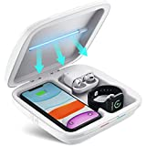 UV Sanitizer 3-in-1 Wireless Charger for Smartphone Smartwatch Earbuds Multi-Function Charging Station Cell Phone Cleaner UV Light Sterilizer Disinfection Box for iOS Android Devices, Watch, Masks