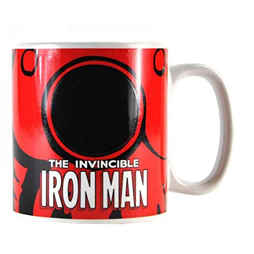 Unbekannt Sonido y vestido 1012349110Taza Iron Man, bajo calor änderndes Logo, acero inoxidable, color blanco, 9x 4x 4cm