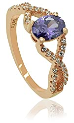 Rose gold pllated sterling silver oval shape purple cubic zirconia curve ring