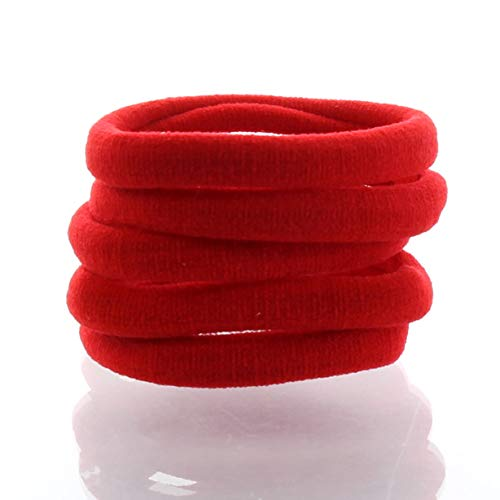 My Lello Large Thick Premium Elastic Ponytail Hair Bands - Seamless - Red 100pcs