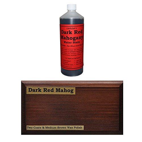 Littlefairs umweltfreundliche wasserbasierte Holzlasur und Farbe - Traditionelles Sortiment (1ltr, dunkelrotes Mahagoni,)