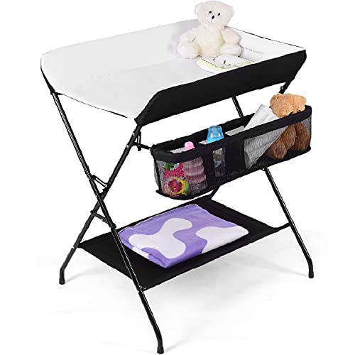 GYMAX Folding Baby Changing Table, Infant Bath Massage Dresser Diaper Organizer, Newborn Care Station with Storage Basket (Black)