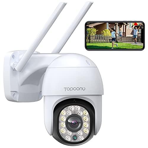 Topcony Caméra Surveillance WiFi avec Vision Nocturne Couleur 1080P, Caméra Extérieure Etanche IP66 avec Audio Bidirectionnelle, Supportant Le Suivi de Mouvement et L'alerte E-Mail