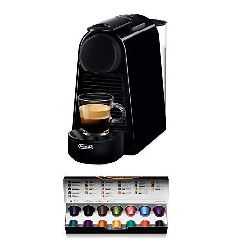 Nespresso De'Longhi Essenza Mini EN85.B - Cafetera monodosis de cápsulas Nespresso, compacta, 19 bares, apagado automático, color negro, Incluye pack de bienvenida con 14 cápsulas