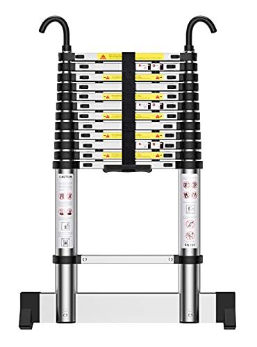Teenza Escalera TelescóPica 3,8m, Escaleras áTico Plegables De Aluminio, Gancho Estabilizador, Carga MáXima 150kg, CertificacióN De Seguridad EN131