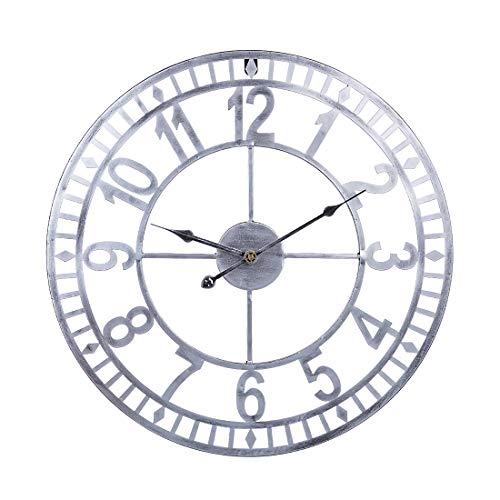 Hmcozy 24IN / 60cm de Hierro Forjado de los números árabes silenciosa del Reloj de Pared del Reloj Hueco Colgantes para la decoración casera - Retro,Plata