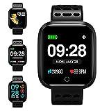 KUNGIX Fitness Armband, Smartwatch Wasserdicht Smart Watch Fitness Tracker Uhr mit 1.3 Zoll Farbbildschirm, Damen Herren Armbanduhr Pulsmesser SMS Beachten Sportuhr für Android iOS (Green) (Schwarz)