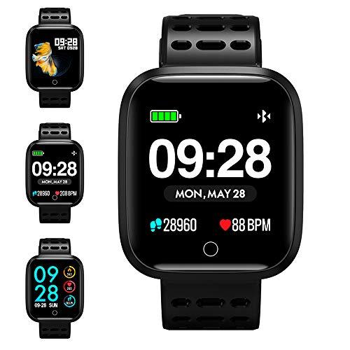 KUNGIX Smartwatch, Reloj Inteligente Hombre Mujer Podómetro Pulsómetro Monitor de Sueño Impermeable IP68 Pulsera de Actividad Inteligente podómetro con Cronómetro para Android iOS